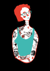 Girl with glasses and vintage tattoo