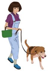 ビーグルと犬の散歩をする女性