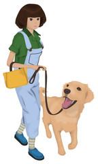 ゴールデンレトリバーと犬の散歩をする女性