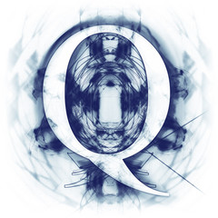 Blue Abstract Letter Q