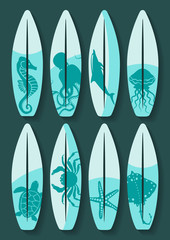 surfboards set with blue sea creatures drawing