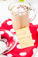 good morning with dessert in a glass on white background