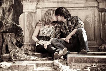 sexy couple kissing, sepia
