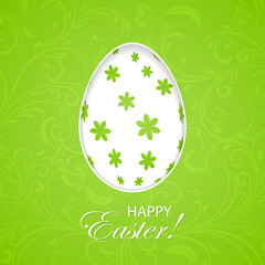 Green Easter background with egg