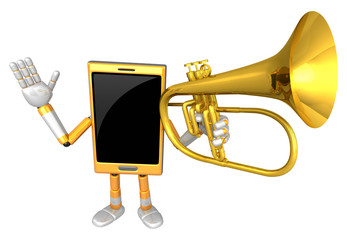 3D Smart Phone Mascot has to be playing the flugelhorn. 3D Mobil