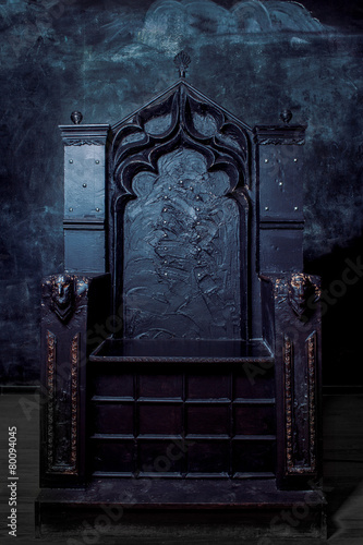 Royal throne. dark Gothic throne, front view - 80094045