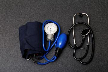 medic tools - stethoscope and tonometer