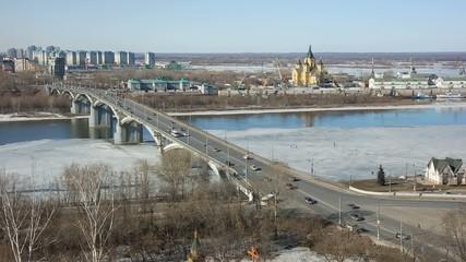 Bridge across the river Oka and City block