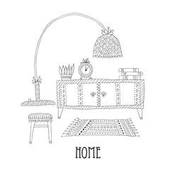 Shelf and lamp - Set of design elements