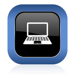 computer square glossy icon pc sign