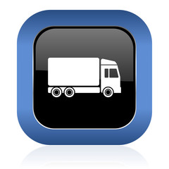 delivery square glossy icon truck sign