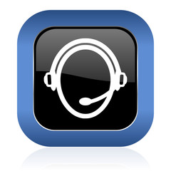 customer service square glossy icon