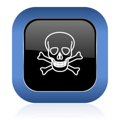 skull square glossy icon death sign