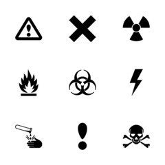 Vector black danger icon set