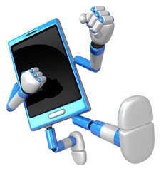 3D Smart Phone Mascot to be powerful whip kicks. 3D Mobile Phone