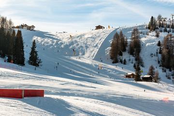 Sunny Ski Slope at ski resort