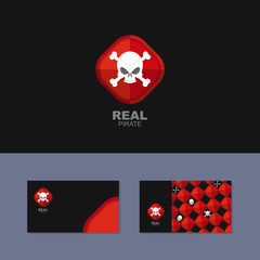 Logo Pirate, business card for real pirate. Skull and bones