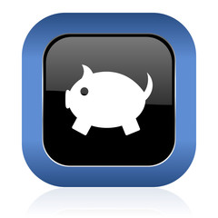 piggy bank square glossy icon