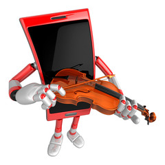 3D Smart Phone Mascot has to be playing the violin. 3D Mobile Ph