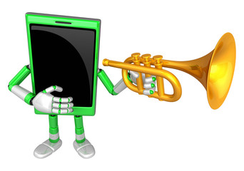 3D Smart Phone Mascot has to be playing the Trumpet. 3D Mobile P