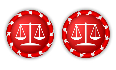 set two icons with arrows and law symbol