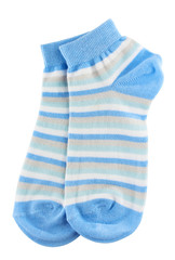 Blue and white striped socks