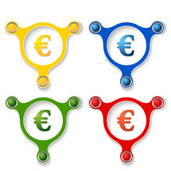 four abstract vector objects and a colored euro symbol