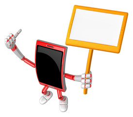 3D Smart Phone Mascot the hand is holding a picket. 3D Mobile Ph
