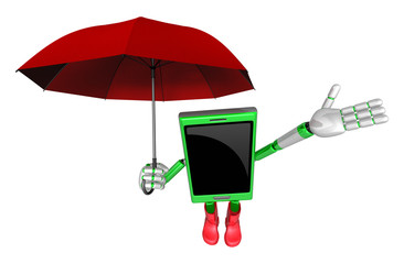 3D Smartphone Mascot is an umbrella in taking shelter from the r