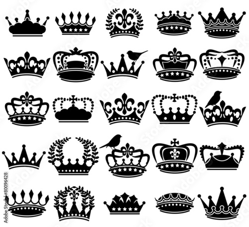 Vector Collection of Vintage Style Crown Silhouettes - 80096428