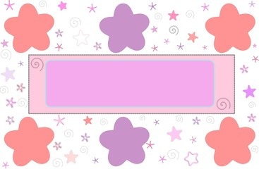 Pink frame or greeting card with stars and flowers