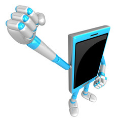 3D Smart Phone Mascot is taking a gesture of victory. 3D Mobile