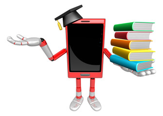 3D Smart Phone Mascot is holding a pile of books. 3D Mobile Phon