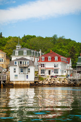 Scenic coastal fishing village Maine, USA. Viewed from the water