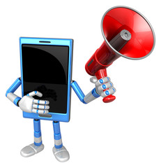 3D Smart Phone Mascot the hand is holding a loudspeaker. 3D Mobi