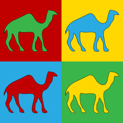 Pop art camel symbol icons.