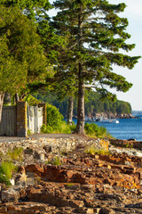 Maine rocky shore path.  Bar Harbor