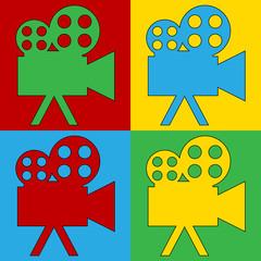 Pop art camera symbol icons.