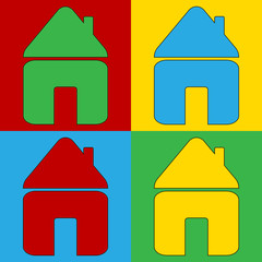 Pop art home symbol icons.