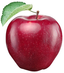 Red apple on a white background. Clipping paths.
