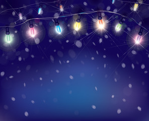Vector Christmas lights on snowfall background.