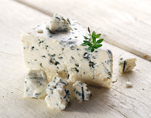 Slices of Danish Blue cheese.
