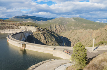 Scenic view of a dam in the Atazar Swamp, in Madrid, Spain.