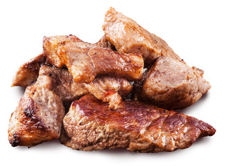 Roasted meat pieces. File contains clipping paths.