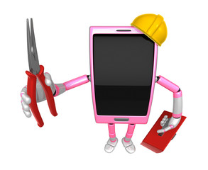 3D Smart Phone Mascot holding a with both Lone Nose and toolbox.