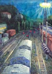 Watercolor cityscape. Night train tracks