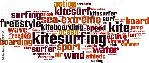 Kitesurfing word cloud concept. Vector illustration