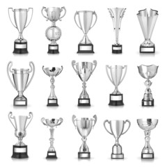 Set of silver trophies. Isolated on white background