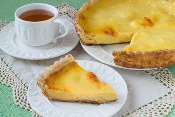 Homemade pie with cheese