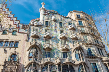 Batllo House and Amatller House. Barcelona, Spain